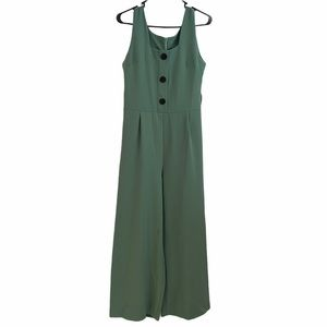 Nasty gal green button front wide leg jumpsuit